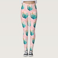 Awesome Turquoise Pink Cactus Pattern Leggings