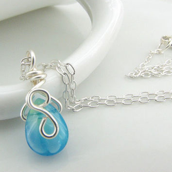 Wire Wrapped Pendant, Aqua Necklace, Glass Teardrop, Sterling Silver Jewelry, Handmade