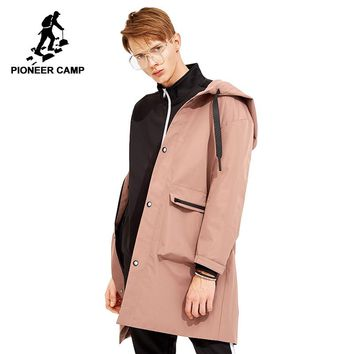 Pioneer camp long trench coat men korean style brand-clothing hooded fashion men solid trenchcoat male pink black AFY803119