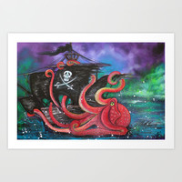 A Pirates Tale - Attack Of The Mutant Octopus Art Print by Laura Barbosa Art