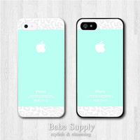 iPhone 5 Case, iPhone 5 Cover, iPhone 5 Cases - Tiffany Teal with Leopard - Water Green