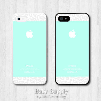 iPhone 4 case, iPhone 4s hard cover - Tiffany Teal with Leopard - Water Green