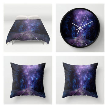 Bedroom Set| Duvet Cover 2 Pillows & Clock | Purple Next Stop Anywhere Bedroom Set| Pillow| Clock| Galaxy Bedding| Train Tracks Decor