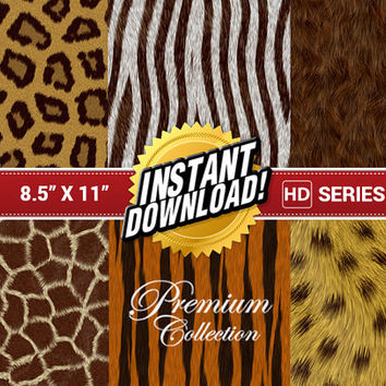6x Deluxe 8.5 x 11 Paper Pad Pack Set Professional Scrapbooking High-Quality Digital Paper Background Photography Photoshop Collage - Fur
