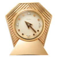 1950s Cartier Diamond Numeral Gold Clock