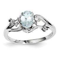 Sterling Silver Genuine Aquamarine Oval & Diamond Ring