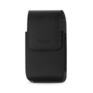 Reiko Reiko Vertical Leather Pouch Xxxl  With Megnetic And Belt Clip In Black (6.38X3.53X0.62 Inches Plus)
