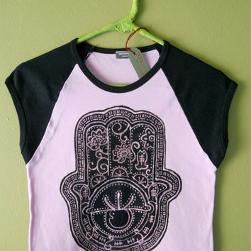 Hamsa t shirt - yoga clothes - batik raglan eco friendly hand painted women size S, M