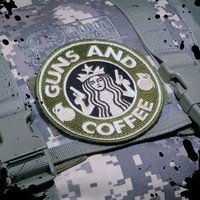 Official Tactical Guns and Coffee Velcro Morale Military starbucks Patch