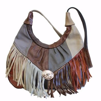 Womens Shoulder Handbag Fringe Hobo Bag Light Soft Genuine Leather Purse Multi