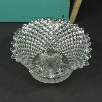 Westmoreland English Hobnail Clear Ruffled Crimped Serving Bowl Candy Relish Dish Circa 1928