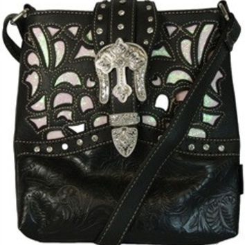 Western: Cross Body Purse Western Laser Cut Handbag W/ Bling Buckle & Cross