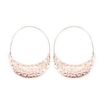 Crescent Moon Filigree Hoop Earrings
