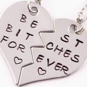 Best Bitches Forever Necklaces | Best Friend Gift | Hand Stamped BFF Split Heart Jewelry | Best Bitches Jewelry | Best Friend Necklaces