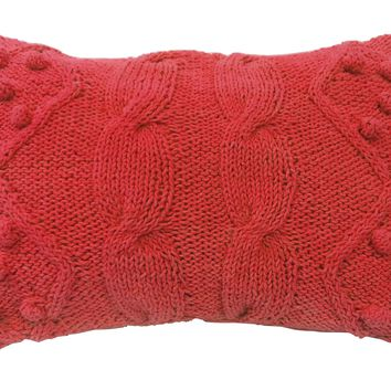 "A Home Twisted Cable Knit Throw Pillow, Orange, 14 by 20-Inch 20""L x 14""W x 6""H"