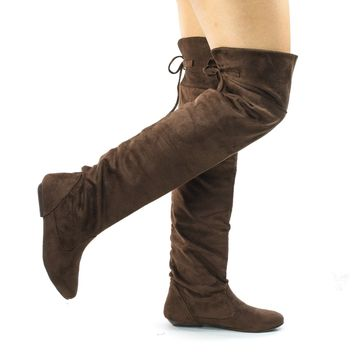 Tammy Brown Faux Suede by Forever, Foldable Knee High Flat Boots w Rear Lace Tie
