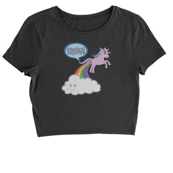 Toot Unicorn Farting Cropped T-Shirt