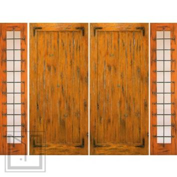 Pre-hung Double Door with Two Sidelites, Exterior, Knotty Alder