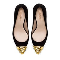 COURT SHOE WITH STUDDED CAP TOE - Shoes - Woman   ZARA United States