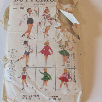1960's Butterick Sewing Pattern 3239 Teen Cheer/Skater/Gymnast Size 12 - vintage sewing pattern, Costume pattern
