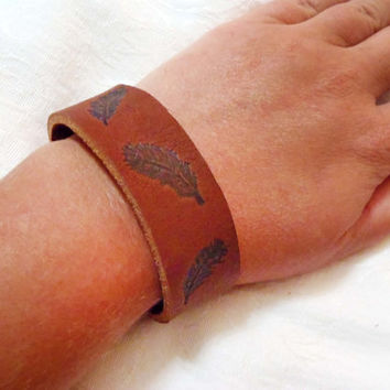 Feather branded leather bracelet with snap closures - FSU inspired leather bracelet with hand etched feather branded onto surface