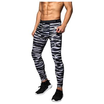 Men Compression Long Pants Running Base Layers Skins Tights Army Camouflage Soccer Joggers Trousers(Stripe black )