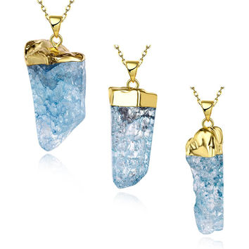 Aquamarine Crystal Natural Crystal Necklace