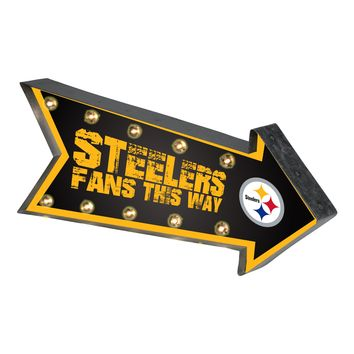 Pittsburgh Steelers Sign Marquee Style Light Up Arrow Design
