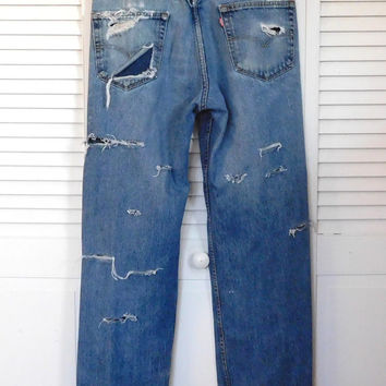 Boyfriend Jeans Levi Jeans Upcycled Clothes Punk Rocker Jeans Distressed High Waisted Jeans Grunge Jeans Holes Frayed Torn Jeans Hippie