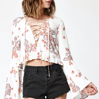 LA Hearts Lace-Up Ruffle Hem Long Sleeve Top at PacSun.com
