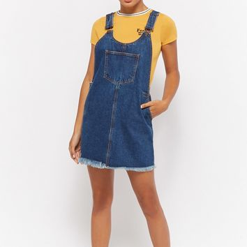 Frayed Denim Overall Dress
