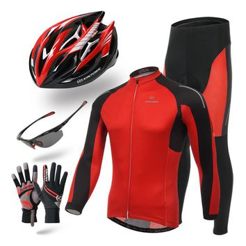 MEN'S RED FIVE-PIECE CYCLING SET LONG-SLEEVE JERSEY HELMET GLOVES GLASSES & PANTS