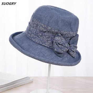 SUOGRY Spring Summer Hats For Women Lady Cotton Flower Bow Bucket Hat Female Fishing Hat Sun Visor Fishing Cap Chapeu Feminino