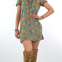 Vintage 70s boho embroidered  India floral mini dress
