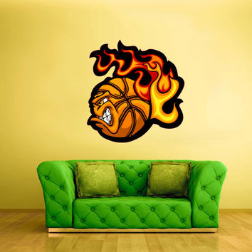 Full Color Wall Vinyl Sticker Decals Decor Art Bedroom Kids Design Mural Basketball Ball Fire Sport Angry (col54)