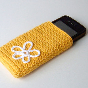 Yellow iPhone case, iTouch Cover, Gadget Cozy, iPod case, Crochet  yellow case with white flower application
