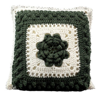 Vintage Granny Square Pillow, Crochet Flower, Decorative Cushion, Retro Home, Kitsch Decor, Granny Chic, Throw Pillows, Green White, Gift