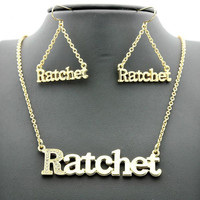 Iced Out Hip Hop Inspired Gold RATCHET Necklace and Earring Duo Set