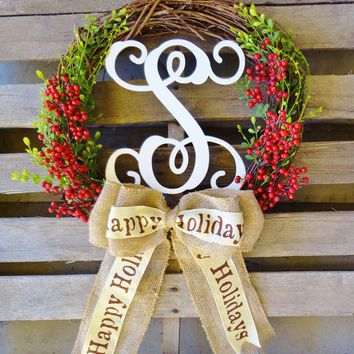 Wreaths, Christmas Wreaths, Monogram Wreath, Holiday Wreath, Christmas Gift, Christmas Decor, Door Hanger,Door Wreaths