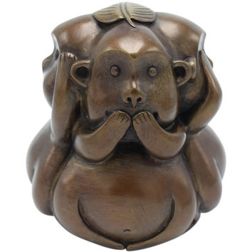 Beautiful Brass High Quality Three Monkey See Hear Speak No Evil Figurine 5""