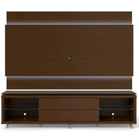 Lincoln TV Stand with Silicon Casters and Lincoln Floating Wall TV Panel with LED Lights 1.9 in Nut Brown