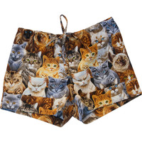 Cat Faces Woven Cotton Print Shorts