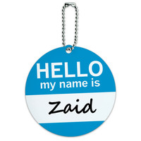 Zaid Hello My Name Is Round ID Card Luggage Tag