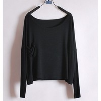 Women Long Sleeve Scoop Black Cotton Blouse One Size@T012b $8.37 only in eFexcity.com.