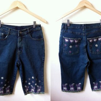 Summer Sale: floral embroidered dark denim bermuda shorts (27 inches)