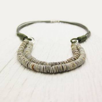 Shell & Leather Statement Necklace / Heishi Shell Sterling Silver with Eco Friendly Leather / beach boho tribal metallic earthy naturall