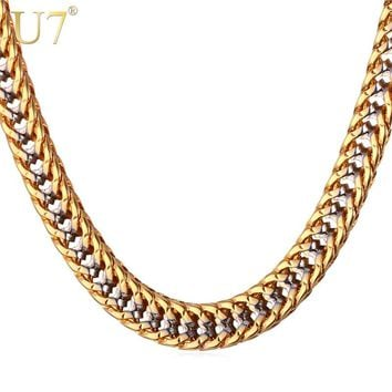 U7 Chain Necklace Men Gift Two Tone Gold Color Collier Dropshipping Vintage Trendy Rapper Long Necklace Mens Jewellery N437