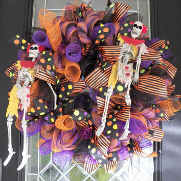Halloween Wreath, Halloween Decoration, Wreath for Door, Deco Mesh Wreath, Ready to Ship