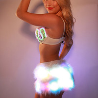 Glow Fur Skirt w/ Rainbow LEDS Faux Fur color changing lights for Burning Man, EDC, Tomorrowworld, Ultra, Festival, Rave