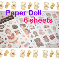Paper doll mate sticker Vintage doll sweet girls sticker fancy girl dresses little teddy bear baby pet baby toy retro girl doll kawaii gift